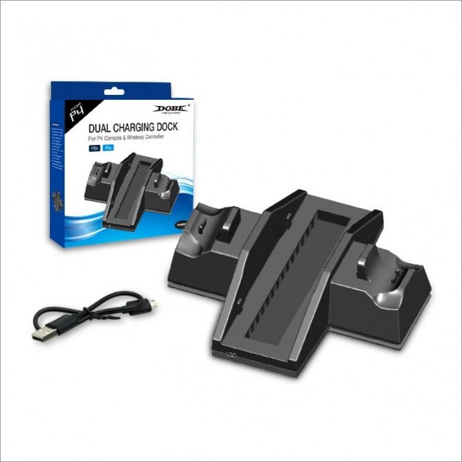 Зарядная станция Dobe для DualShock 4 (2 контроллера) + подставка с охлаждением для PS4