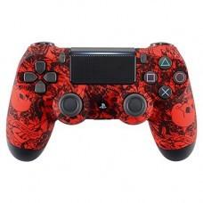 Корпус (передняя панель) для геймпада Dualshock4 v2. Матовый, кислотно-красные черепа с цветами.