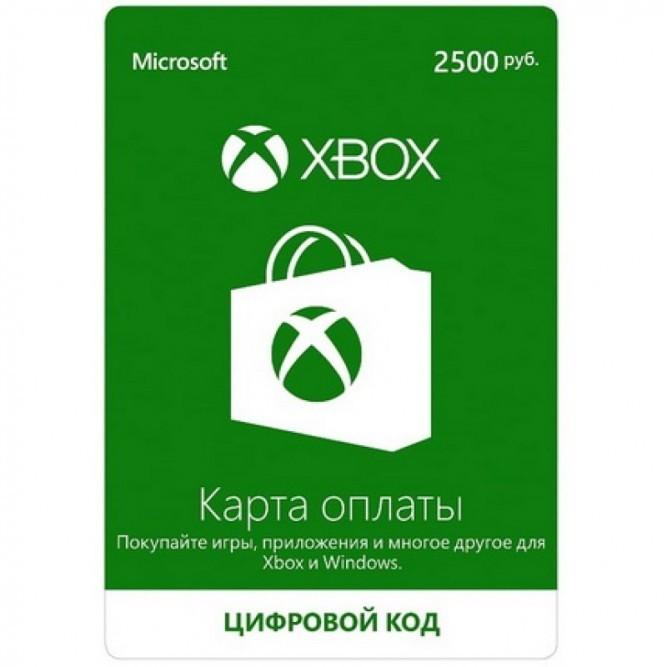 Карта оплаты Xbox Live (2500 рублей)