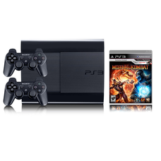 Приставка Playstation 3 SuperSlim б/у + игра Mortal Kombat + два геймпада Sony Dualshock 3 + HDMI кабель