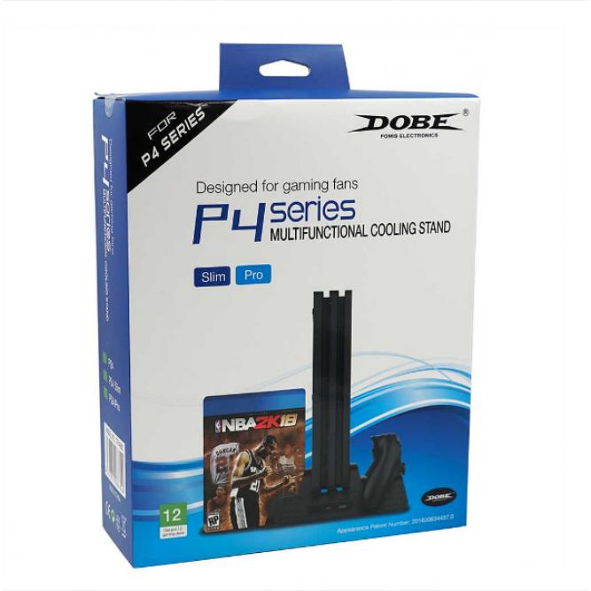 Подставка Dobe с охлаждением, зарядкой на 2 геймпада и полкой для дисков (PS4)