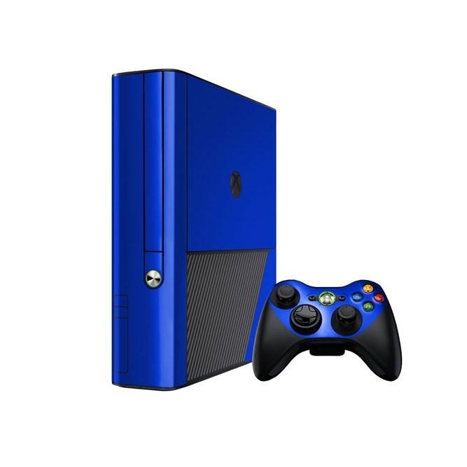 Синие наклейки для консоли Xbox 360 Е и двух геймпадов