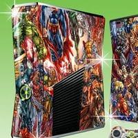 Наклейки Супергерои на консоль Xbox 360 Slim и 2 геймпада