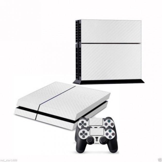 Наклейки Белый карбон для консоли PS4 и двух геймпадов